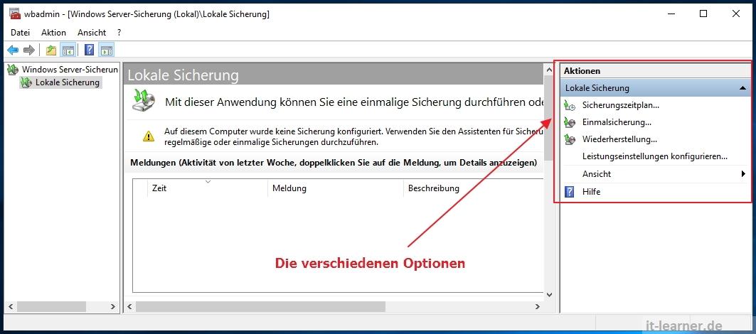 Die verschiedenen Optionen der Windows Server Sicherung