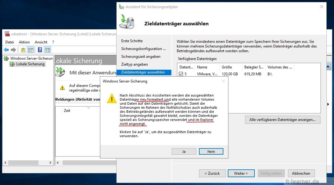 Festplatte steht exklusiv der Serversicherung zur Verfügung