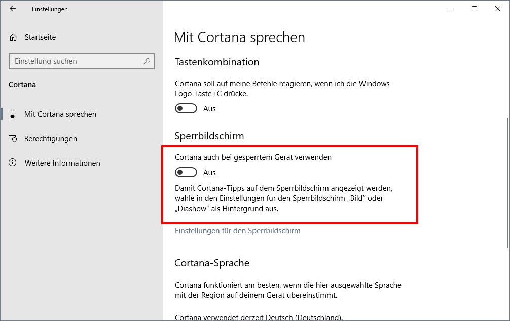 Cortana aus Taskleiste ausblenden