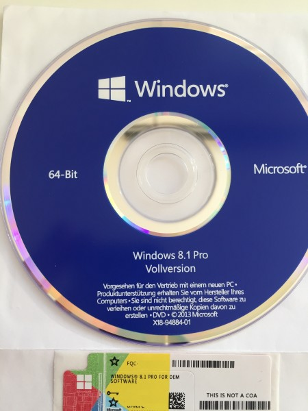 Windows 8.1 Professional 64-Bit inkl. DVD
